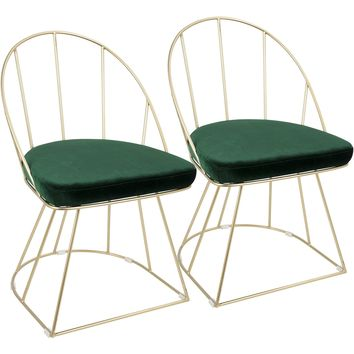 Canary Contemporary Dining / Accent Chairs with Green Velvet, Gold (Set of 2)