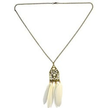 Vintage Faux Pearl Feather Sweater Chain