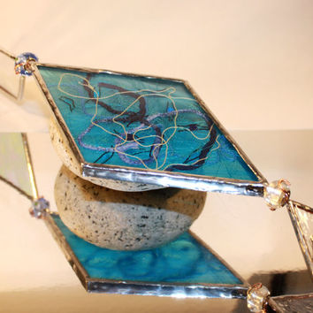 Stained Glass Suncatcher - Turquoise Blue Glass Window Hanging - Kitchen Decor