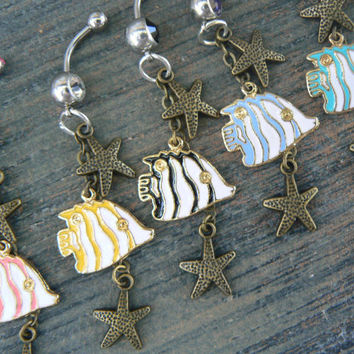 fish and starfish belly ring beach belly ring sea belly ring  starfish belly ringbeach boho hippie bohemian tribal fusion and hipster style