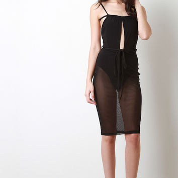 Keyhole Bodysuit Mesh Dress