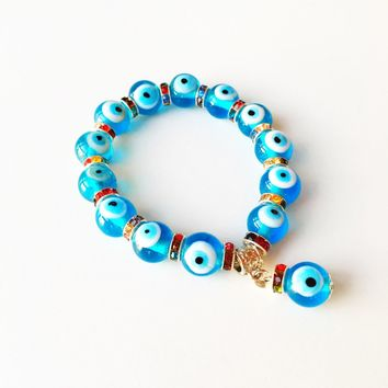 FREE SHIPPING Evil eye charm bracelet, glass evil eye bracelet, evil eye bangle bracelet, blue evil eye bracelet, turkish evil eye handmade