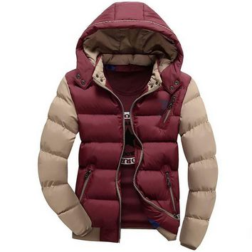 Men's Parkas cotton casual hood Plus size XXXL Coats