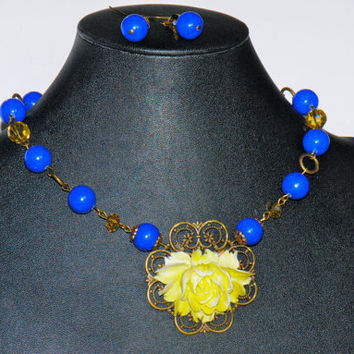 Electric Blue Necklace with Lime Green RoseBlue by YssormDesigns