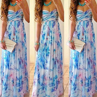 Fashion Printed Strapless Dress