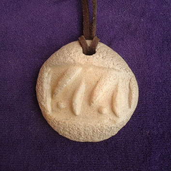 Floral relief pottery pendant. Handmade ceramic pendant - round. Cream and gray color. FREE SHIPPING.