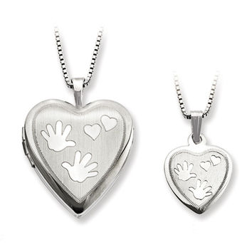 925 Sterling Silver Handprint with Hearts Mother Daughter Necklace Set