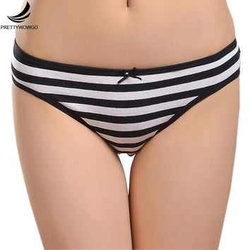 Prettywowgo Hot Sale Women's Underwear 2017 New Cotton Women Striped Panties 6861