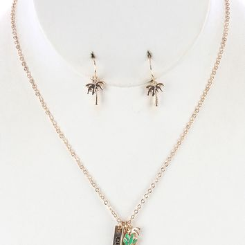 Tropical Charm Pineapple Palm Tree Message Necklace Earring Set