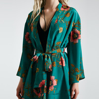 Belted Emerald Floral Print Kimono | Wet Seal