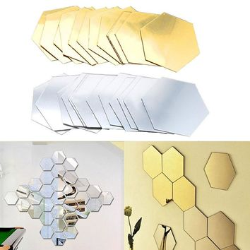 12Pcs 3D Hexagon Acrylic Mirror Wall Stickers For DIY Art Wall
