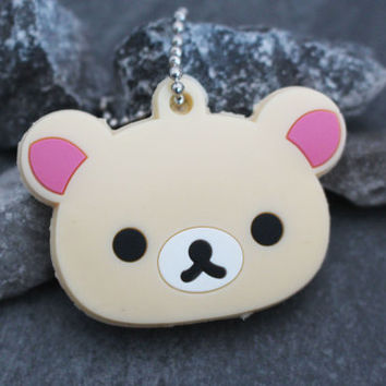 KORILAKKUMA Key Topper, Rilakkuma Key Cover, Sanrio Key Cap, Rubber Keychain, Silicone Key Chain, Purse Accessories, Car Accessories