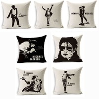 Supper Star Michael Jackson Pillow Cover Cotten Linen Square Throw Cushion Pillow Case Office Home Pillow