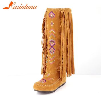KARINLUNA New Solid Height Increasing Fringe Shoes Woman Casual Autumn Bohemia Style Mid-Calf Boots Large Size 34-48