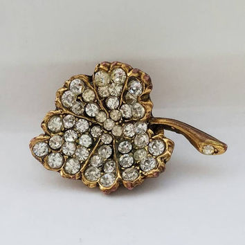 Rhinestone Encrusted Leaf Brooch, Brooch, Pin, Pave Set in Gold Vermeil, Vintage Jewelry, Gift for Her, Pin