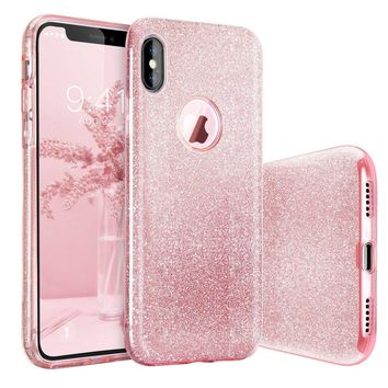 iPhone X Case, BASSTOP Luxury Bling Crystal Glitter Sparkle Phone Case Detachable 3 Layers Shockproof Hard PC Back Soft TPU Inner Shining Case for Apple iPhone X,iPhone 10 (Pink)