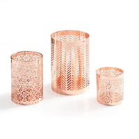 Rose Gold Metal Pattern Casting Candle Holder Set