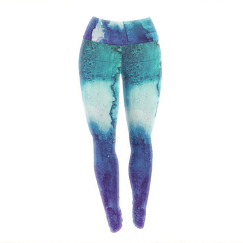 "Malia Shields ""Blues Abstract Series 1"" Green Teal Yoga Leggings"