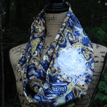Dr. Who Tardis Explosion Rose Embroidered Infinity Scarf