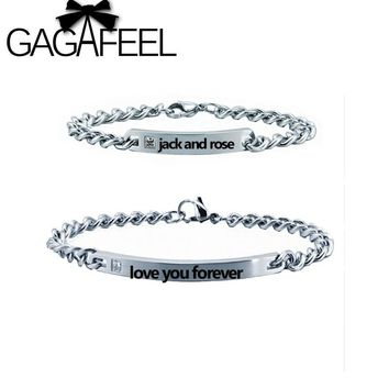 GAGAFEEL Engraved Bracelet Pair Lover Couple Charm Letter Luxury Women Men Jewelry Stainless Steel Bangles Valentines Day Gifts