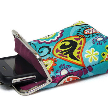Fabric IPhone Case / Fabric Cigarette Case - Colorful Paisley - Women Gift - Silver Frame