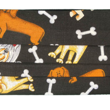 Dogs and bones, cotton face mask, washable and reusable, dust and dirt protection, by Mouthshutters