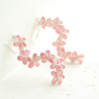 Pink Forget Me Not Earrings, Flower Floral, Dangle, Paper Jewelry...