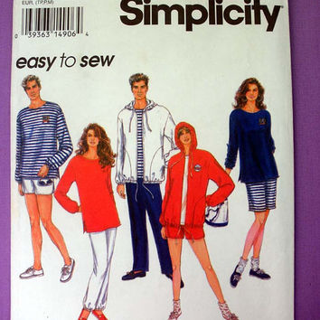 Sweatshirt, Hoodie Jacket, Pants or Shorts Misses', Mens' or Teen Boys Size XS, Small, Medium Simplicity 8798 Sewing Pattern Uncut