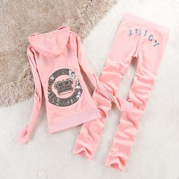 Juicy Couture Crown Velour Tracksuit 2196 2pcs Women Suits Pink