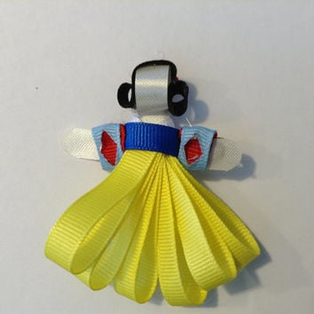Snow White Handmade Hair Bow Ribbon Sculpture