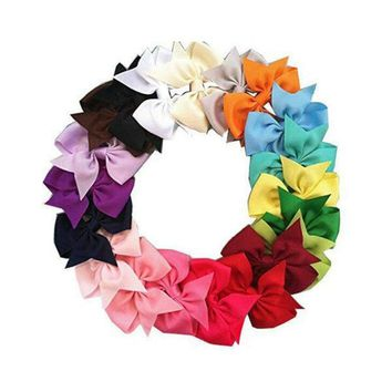 20/40 Pcs Tiny Baby Girls Grosgrain Ribbon Hair Bows Clips for Toddlers Kids US