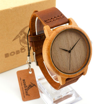 TOP Bamboo Watches for Gifts Round Bamboo Wristwatch for Men and Women Wooden Watch With Genuine Cowhide Leather Strap