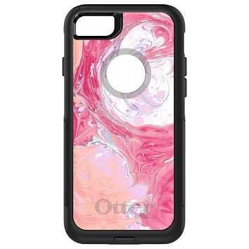 DistinctInk™ OtterBox Commuter Series Case for Apple iPhone or Samsung Galaxy - Hot Pink Blue White Marble