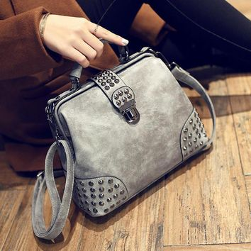 Day-First™ Studded Leather Crossbody Doctor Bag Shoulder Handbag