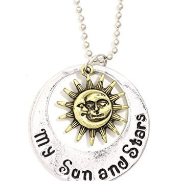 Moon and Stars of My Life Necklace Sun Charm Etched Silver Tone Lunar Pendant NR37 Fashion Jewelry