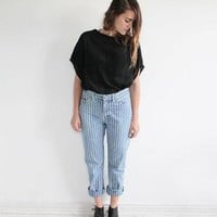 Vintage 90s Ralph Lauren Denim Striped Painters Jeans | women's 29