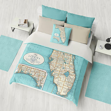 Florida State Coastal Map Duvet Cover or comforter - bed - bedroom, surfer, travel decor, cozy soft, Florida Keyes Coastal Decor