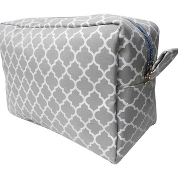 Gray - Quatrefoil Cosmetic Bag