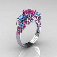 Classic 18K White Gold Three Stone Princess Pink Sapphire Blue Topaz Solitaire Engagement Ring R500-18KWGBTPS