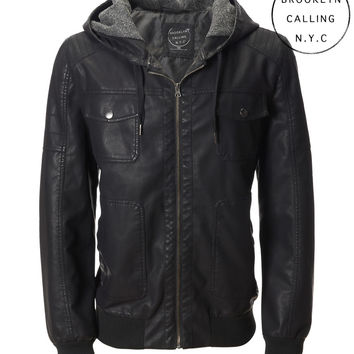 Aeropostale  Mens Brooklyn Calling Faux Leather Hooded Jacket