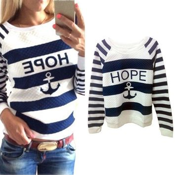 Women's Pullovers Anchors Striped Casual sweater