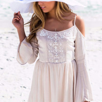 Adore Me Cream Open Shoulder Bell Sleeve Embellished Peasant Dress