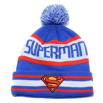 New Fashion 2015 Unisex Women Men Autumn Winter Knitted Cap Elastic Hat superman Hip-hop Pullover Warm Wool Hats Dribbling Jacquard (Color: Blue) = 1946457092