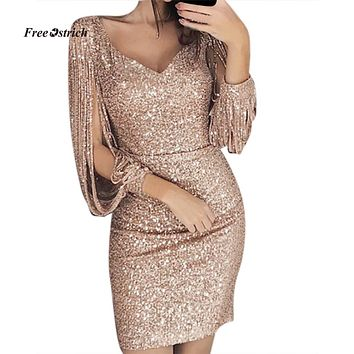 Free Ostrich Dress Women Sexy Solid Sequined Stitching Shining Club Sheath Long Sleeved Mini summer party Dresses women Dress