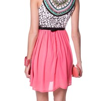 CORAL CHIFFON TRIBAL PRINT DRESS