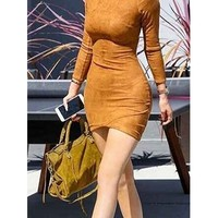Talent and Skill Brown Faux Suede Long Sleeve Wrap Front Crew Neck Bodycon Mini Dress - Inspired by Kylie Jenner
