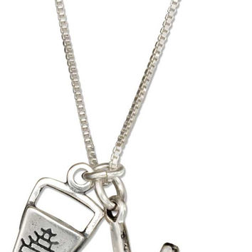 """STERLING SILVER 18"""" CHINESE FOOD TAKE-OUT BOX WITH CHOPSTICKS PENDANT NECKLACE"""