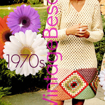 Dress CROCHET Pattern Vintage 1970s Dress Granny Square Crochet Pattern Retro Ladies Dress Pattern INSTANT Download Pdf Pattern