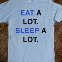 Eat a Lot Sleep a Lot T-Shirt Blue Black (IDA511830)