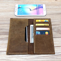 Leather iPhone 6s Case, iPhone 6 Plus Wallet, iPhone 6 Wallet Case, Leather Men Wallet, Minimalist Phone Case, Personalized, D473